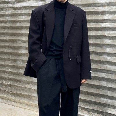 [OUTER] wool wide string jacket