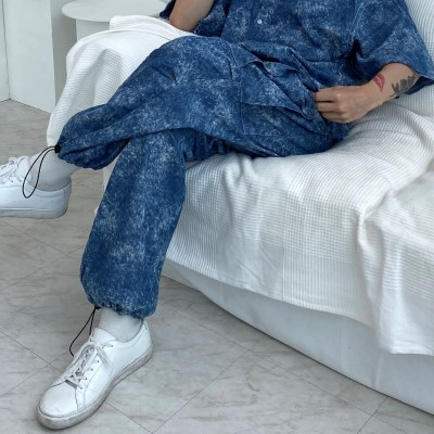 [TOP] tiedye denim linen cargo wide jogger pants