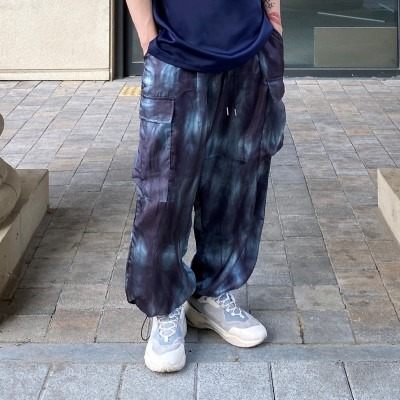 [PANTS] tiedye silk cargo string jogger pants
