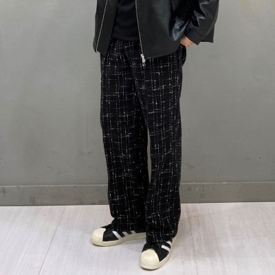 [PANTS] tweed straight wide pants