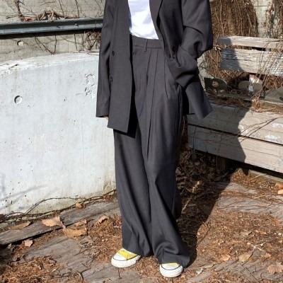 [PANTS] women three tuck wide slacks