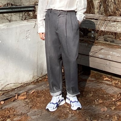 [PANTS] two tuck denim belt wide pants