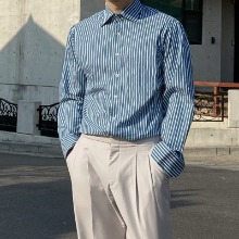 [TOP] winding collar stripe shirt